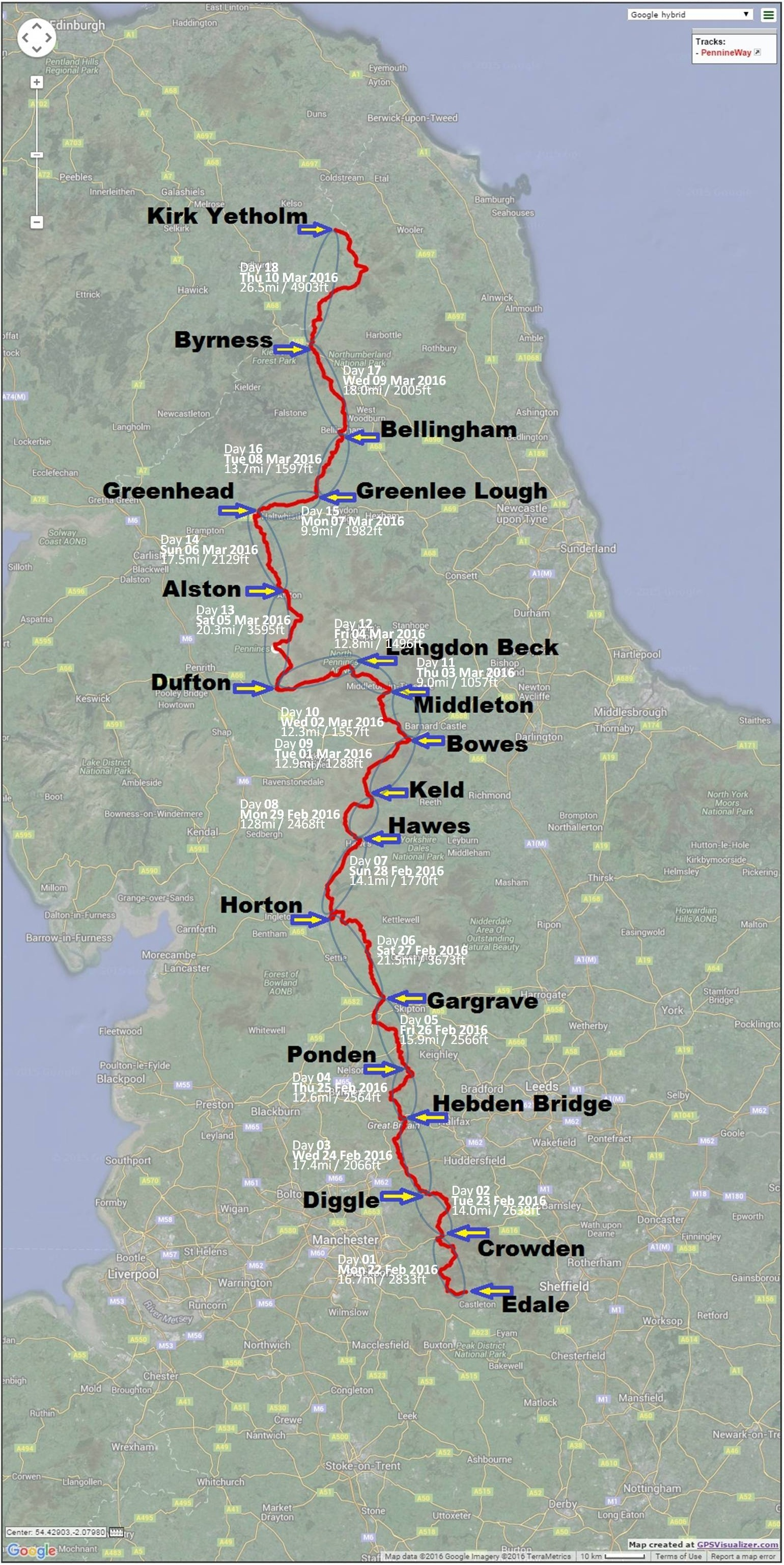 pennine way map dated located hr
